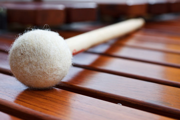 Mallet on marimba