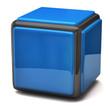 Blue cube isolated on white background