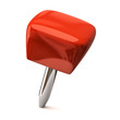Red thumbtack on a white background.