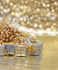 Christmas gifts and golden decorations