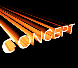 Concept Text In Copper And 3d As Symbol For Design And Creativit