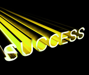 Success Text In Yellow And 3d As Symbol For Goals And Winning