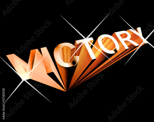 Victory Text In Orange And 3d As Symbol For Winning And Accompli