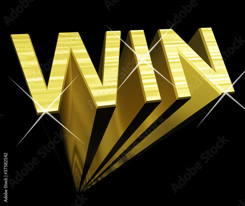 Win Text In Gold And 3d As Symbol For Success And Victory
