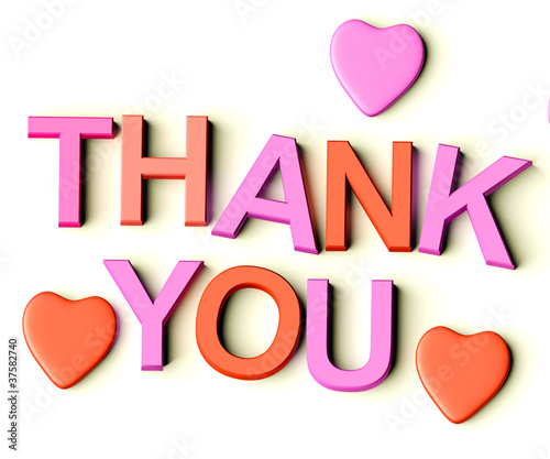 Letters Spelling Thank You With Hearts As Symbol for Gratitude A