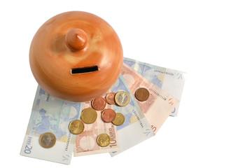 money box on euros