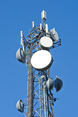 Cell tower and radio antenna in trees against a blue sky