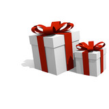 Two gift boxes with a red bow, 3D image
