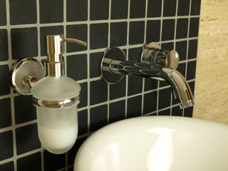 Closeup of wall mounted tap