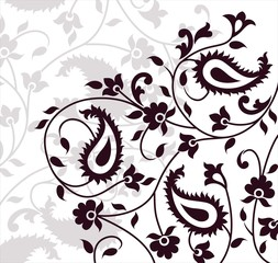 paisley floral pattern swatch, India