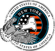 Stamp with name of New York, vector illustration