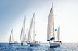 Leinwanddruck Bild - Sailing ship yachts with white sails