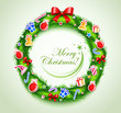 Christmas wreath with gifts