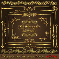 Gold calligraphic design elements vol2