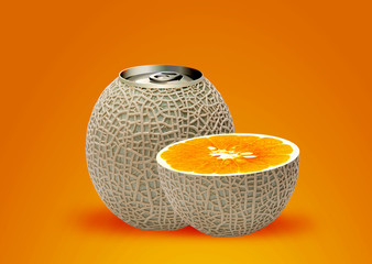melon can and half orange