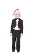 boy in a tuxedo and a cap Santa Claus on a white background
