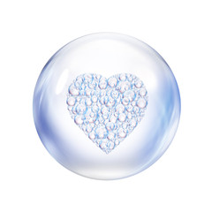 heart bubbles in bubble