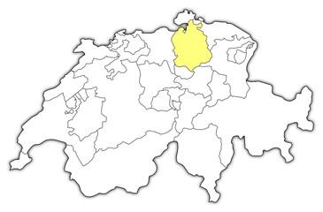 Map of Swizerland, Zurich highlighted