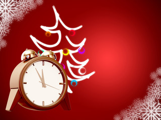 clock and christmas tree on red background with snowflakes
