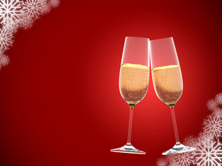 glasses of champagne on red background with snowflakes