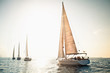 Sailing ship yachts with white sails - 37590316