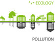 Green ecology city against pollution vector background