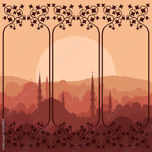 Arabic city landscape background illustration
