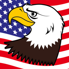 American bald eagle and flag background illustration
