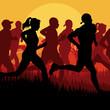 Marathon runners in skyscraper city landscape