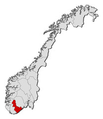 Map of Norway, Aust-Agder highlighted