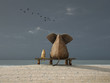 elephant and dog sit on a beach - 37592738