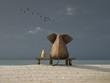 Leinwanddruck Bild - elephant and dog sit on a beach