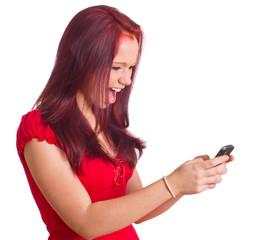 wütende Frau mit Handy