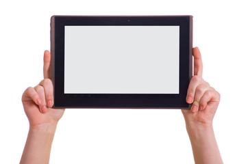 Hände halten Tablet PC