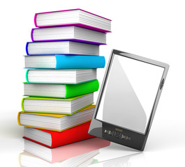 E-reader and books
