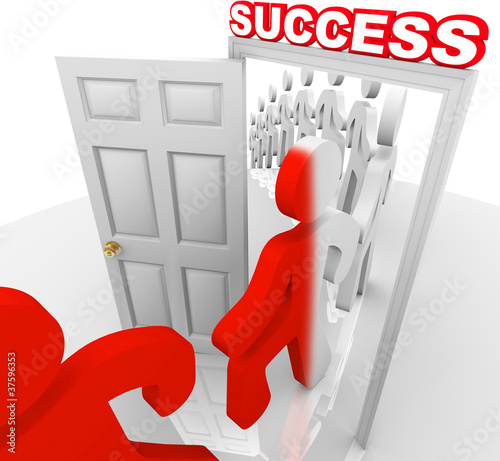 People Walking Through Success Doorway Achieve Goals