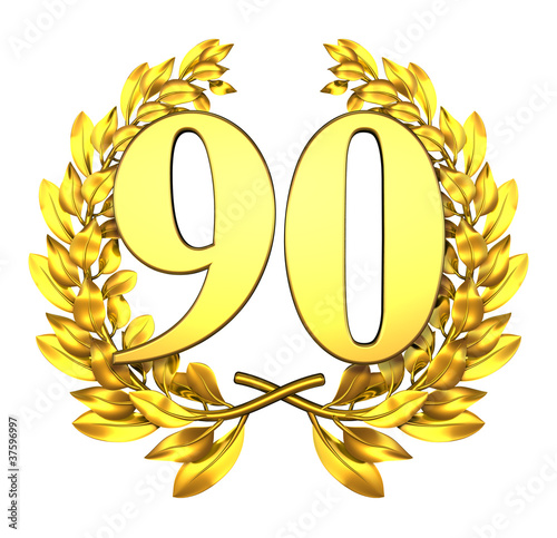 90 ninety number laurel wreath