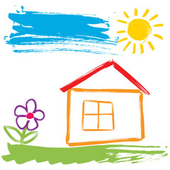 Childlike painting - house