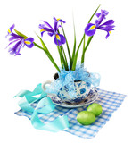 Easter reason with  irises and easter eggs poster