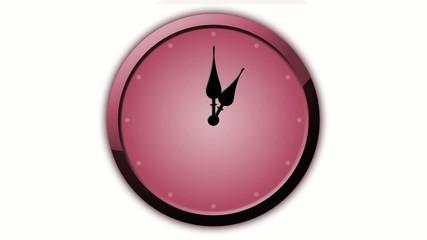 Rote Uhr Animation 12 Stunden in 60 Sekunden