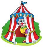 Cartoon clown in circus tent poster