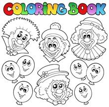 Kolorowanka z zabawnymi klaunów