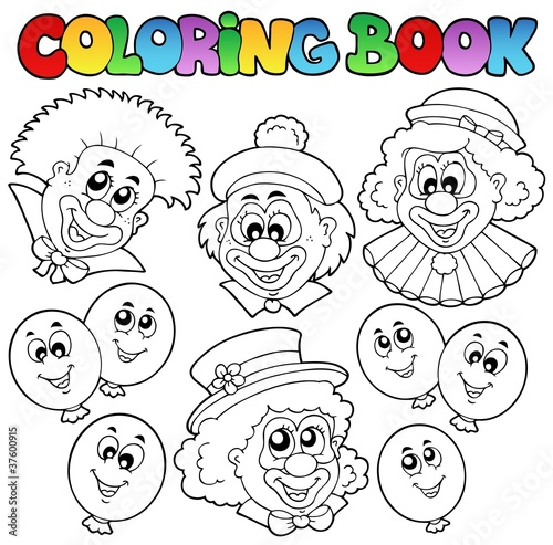 Coloring book with funny clowns