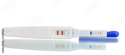 positve pregnancy test isolated on white
