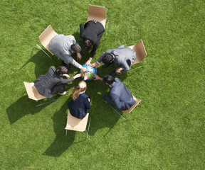 Business people working together outdoors