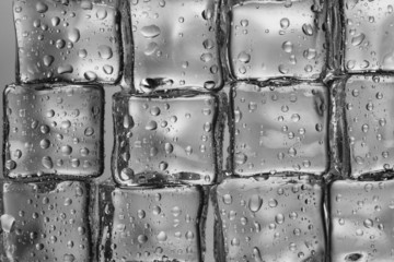 Melting ice cubes closeup