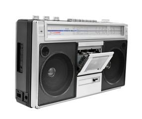 Vintage radio cassette recorder, isolated