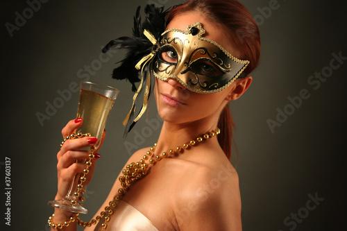 Fototapeten,mysteriously,glas,karneval,frau