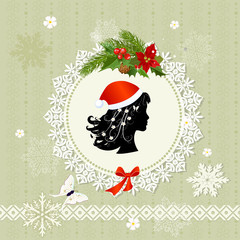 Decorative Christmas Santa retro frame