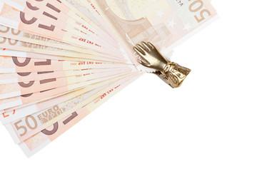 Billetes de euro sujetos por una mano